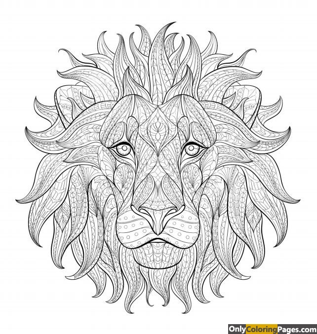pages, lion, face, coloring