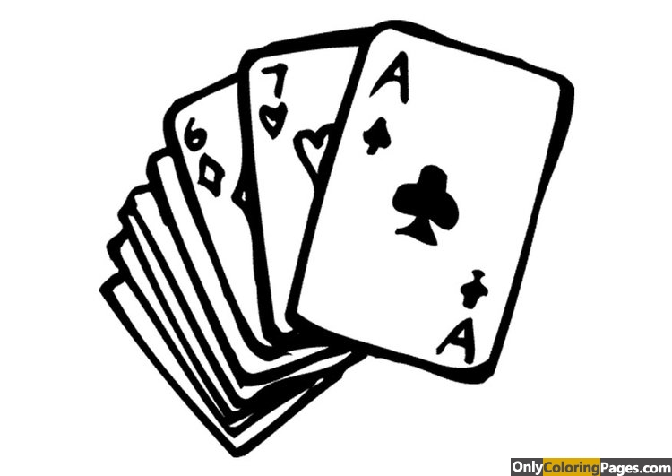 poker cards coloring pages