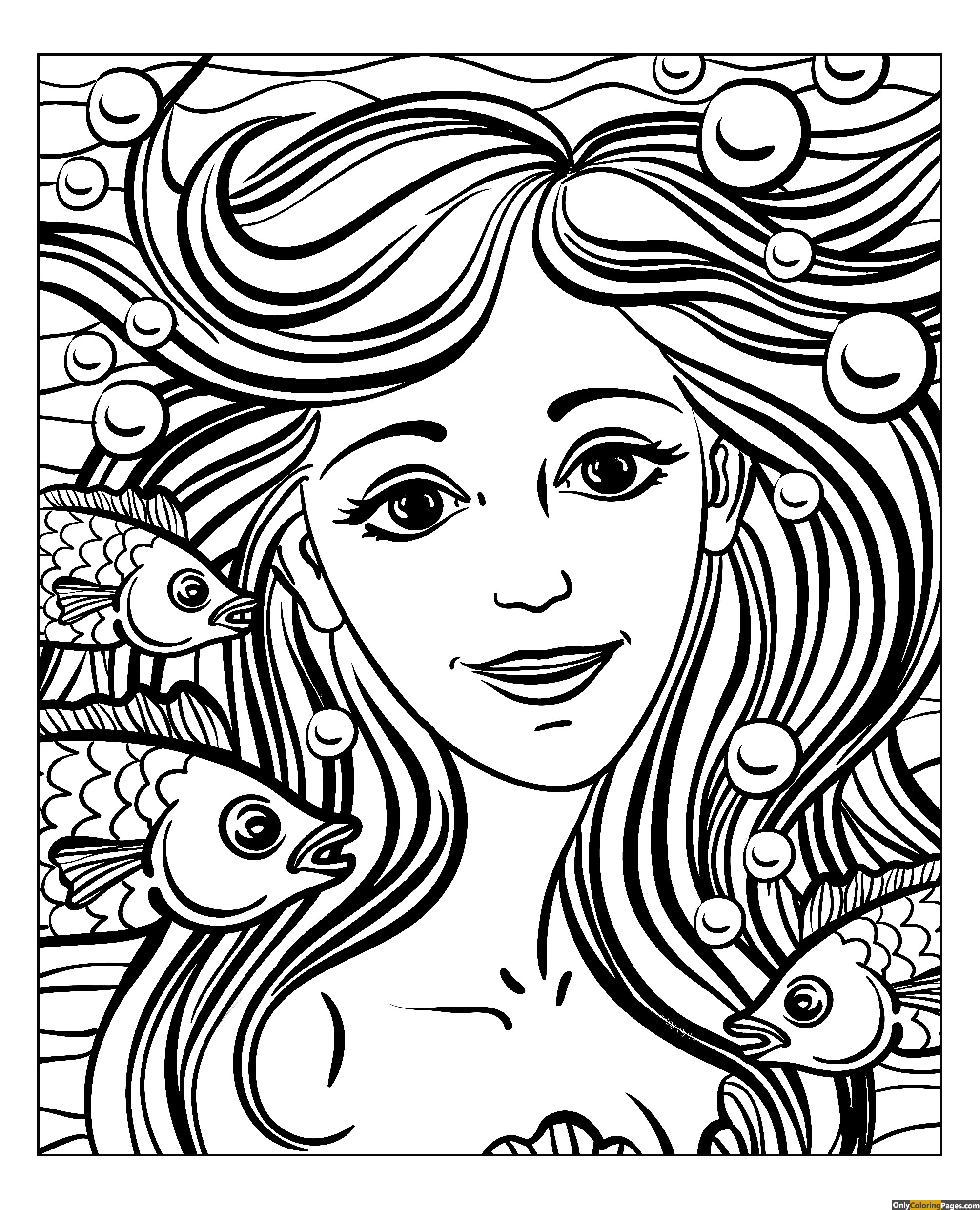 Realistic girl face coloring page free printable online for Coloring pages of girls faces