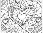 detailed hard 12 hearts coloring pages