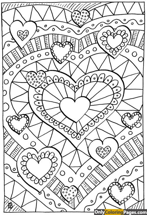 Detailed Hard 12 Hearts Coloring Pages Free Printable