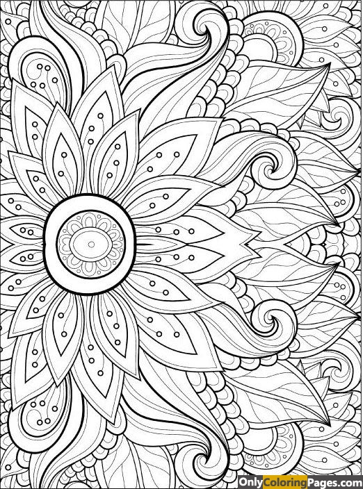 hard flower coloring page for adults