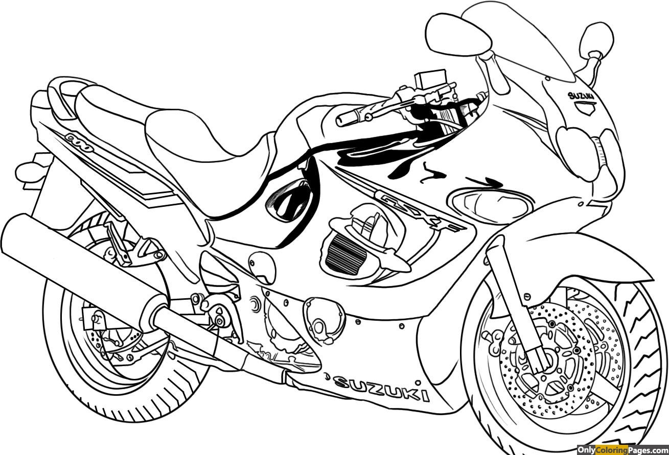 pages, motorcycle, coloring