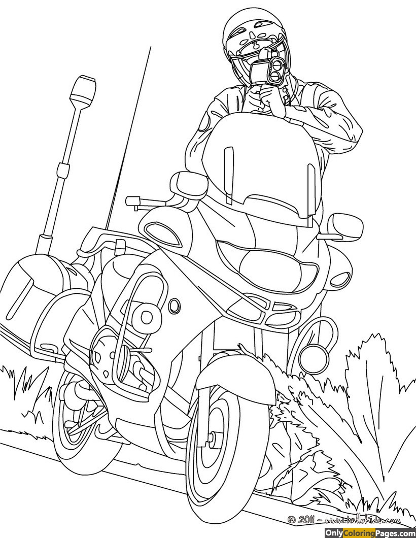 police motorcycle coloring pages