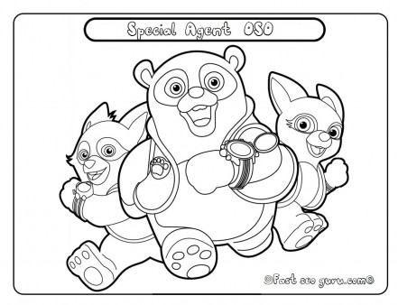 pages, coloring, agent oso, Agent