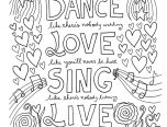 dance love sing live adults sayings coloring pages