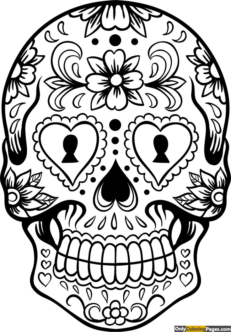 sugar, skull, pages, coloring, adults