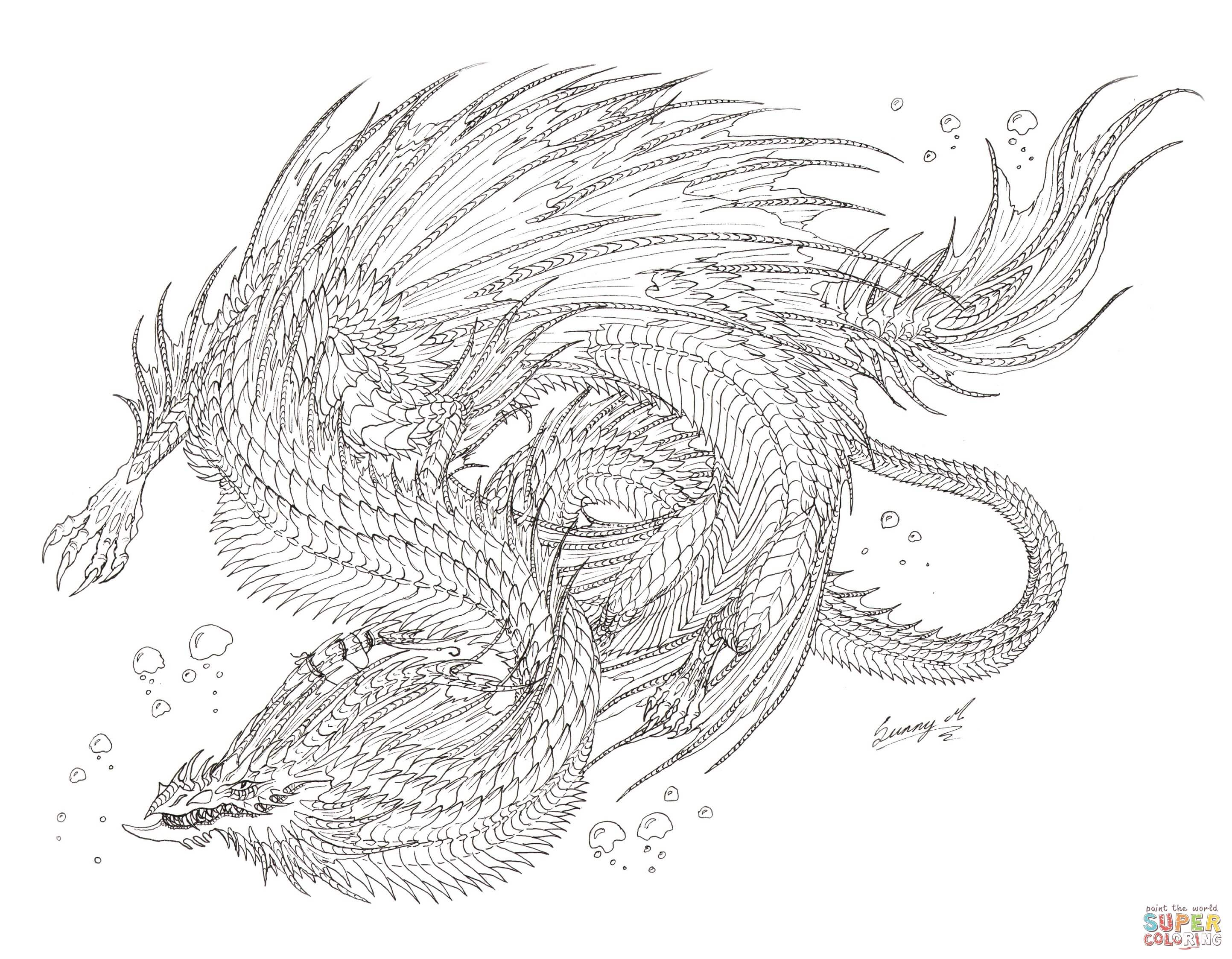 Dragon Coloring Pages Sea Serpent