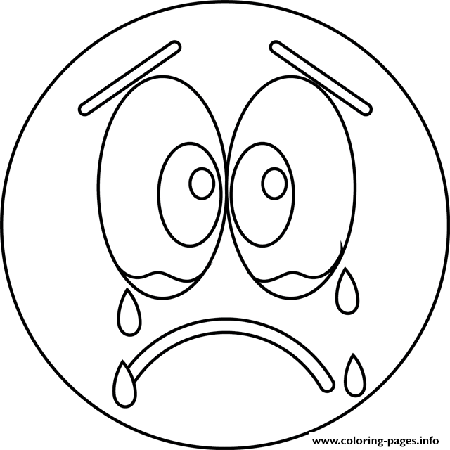 Emoji Coloring Pages Sad Cry Face