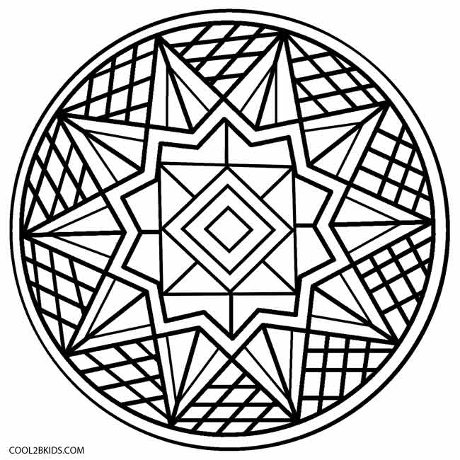 Kaleidoscope Coloring Pages Easy