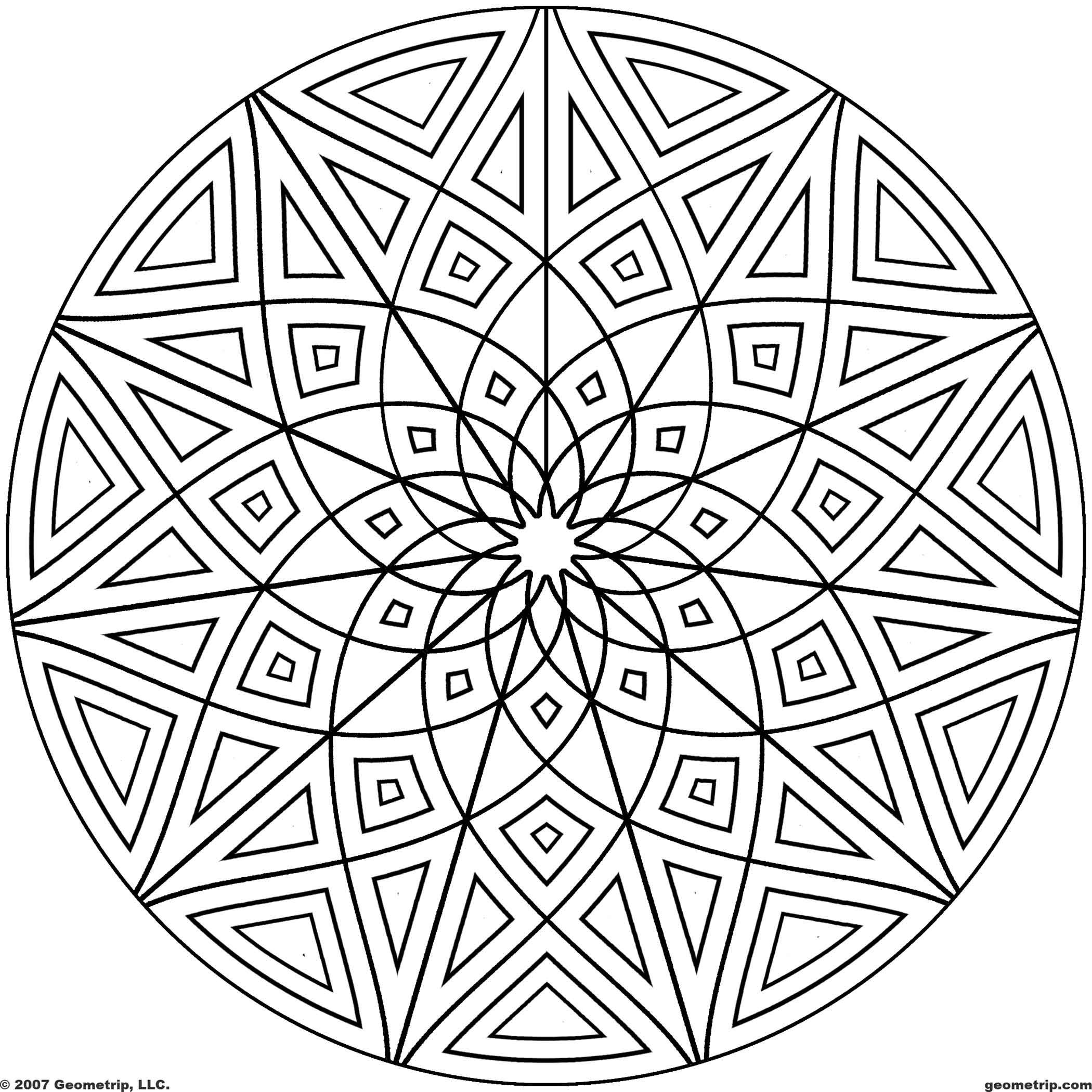 Kaleidoscope Coloring Pages Geometric Free Coloring