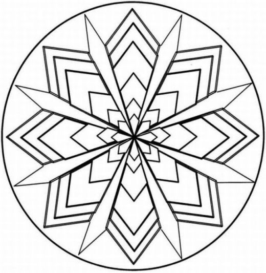 Symmetry Coloring Design kaleidoscope coloring page