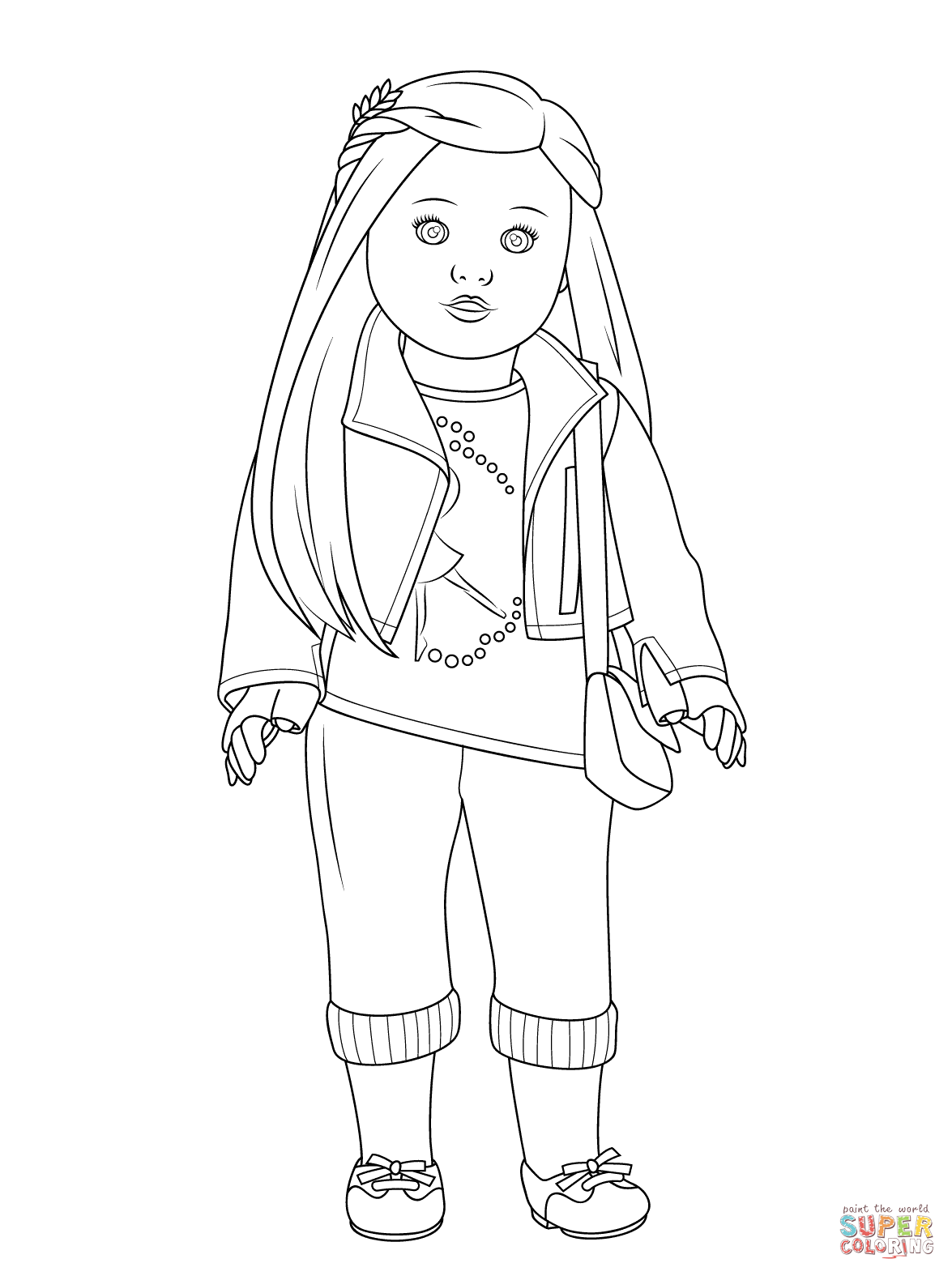 a coloring page of a girl