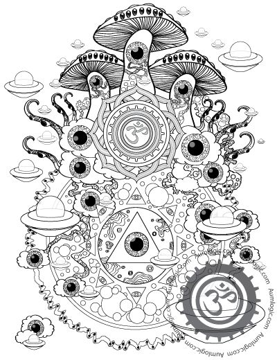 psychedelic mushroom coloring pages