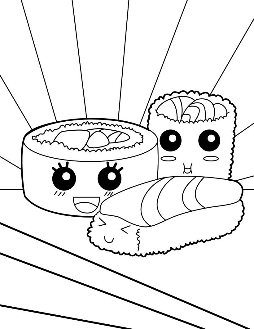 sushi cat coloring pages