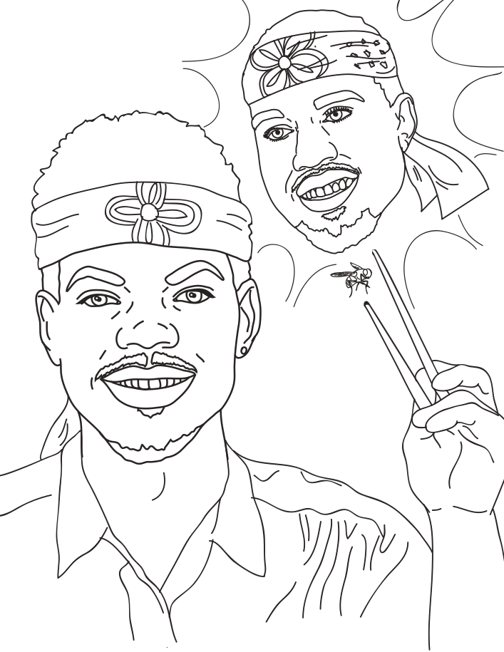 chance the rapper coloring pages online