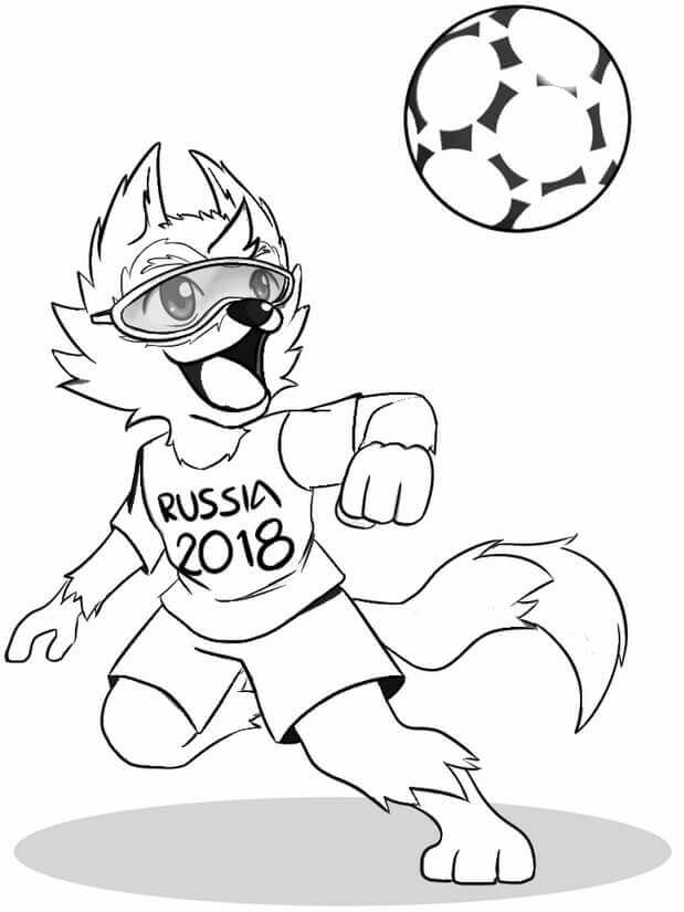 world cup 2018 symbol and ball coloring page