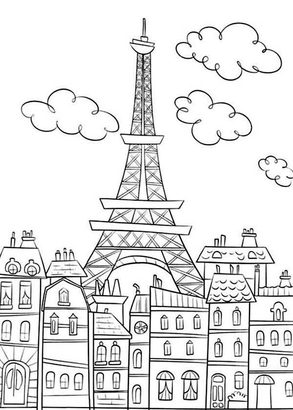 paris eiffel basic coloring page for teens