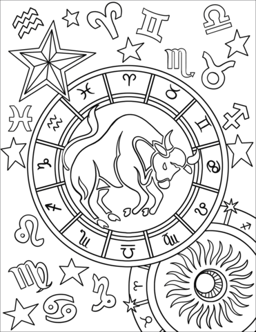 taurus, sign, pages, coloring, astronomy