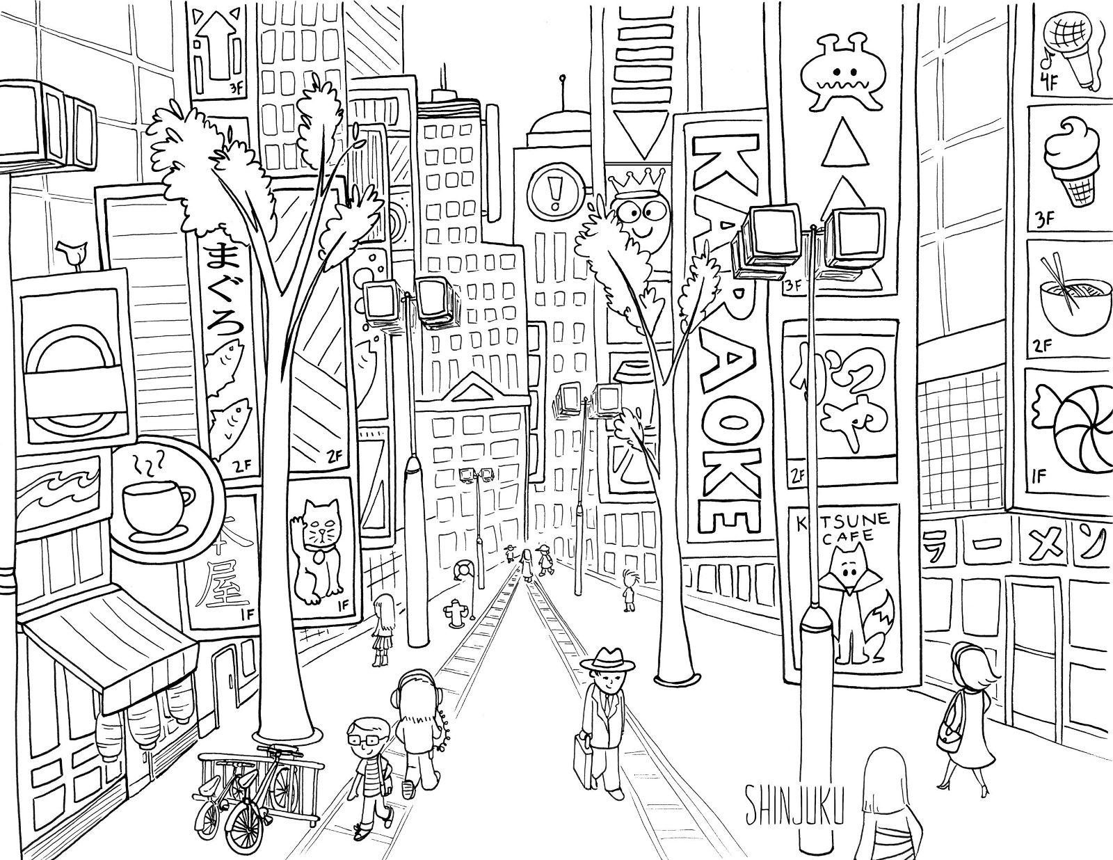tokyo japan coloring pages for adults