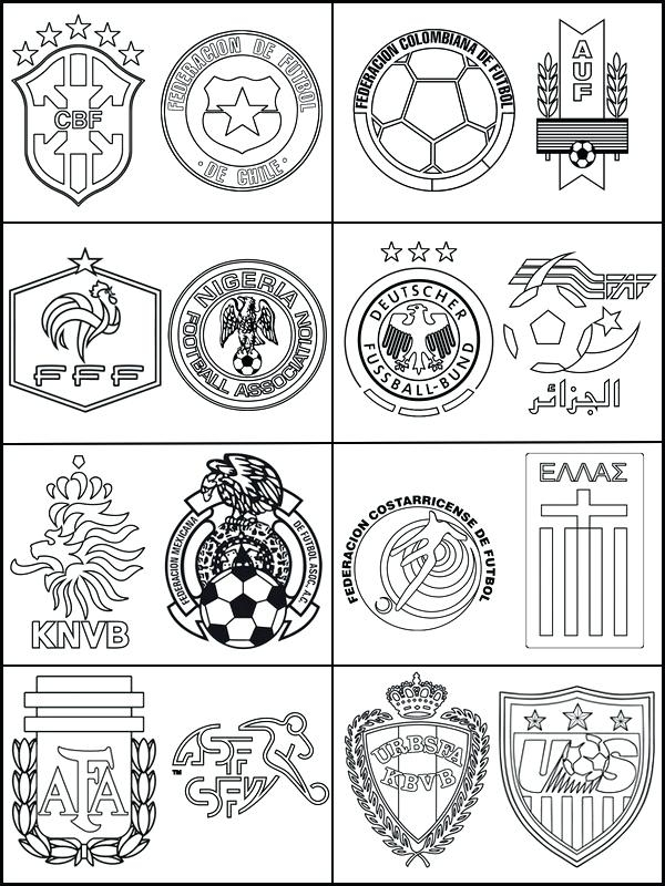 World, teams, print, pages, flags, coloring, 2018