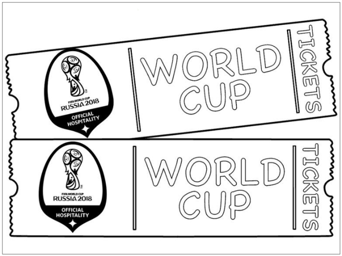 World, tickets, pages, football, coloring, 2018