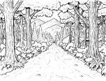 forest coloring pages trees 152x116
