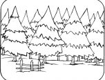 forest coloring pages trees and animals village