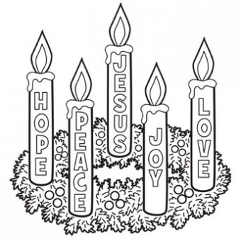 Advent Wreath Coloring Page 01