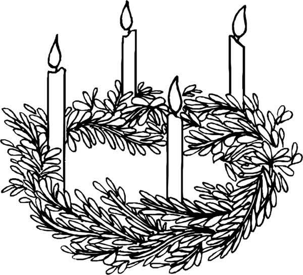 Four Candles Advent Coloring Pages Batch