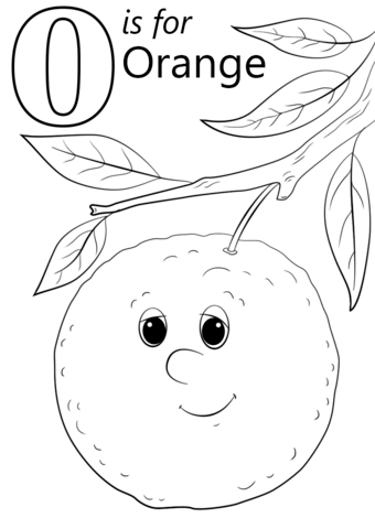 Letter O is for Orange coloring page