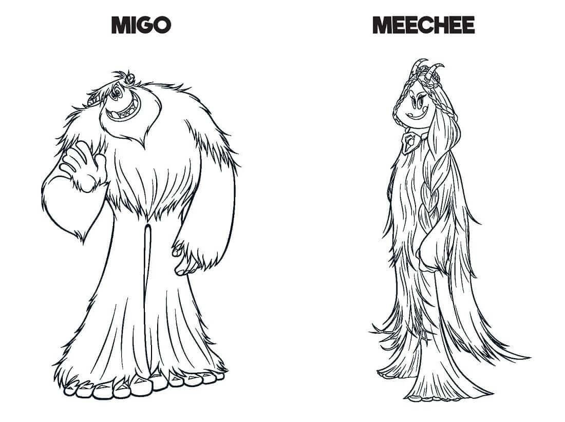 Smallfoot Movie Migo And Meechee coloring pages e1543890375243