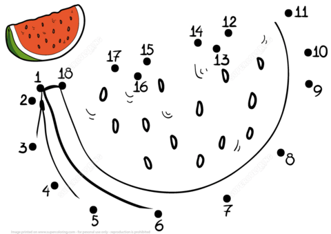 Watermelon dot to dot coloring