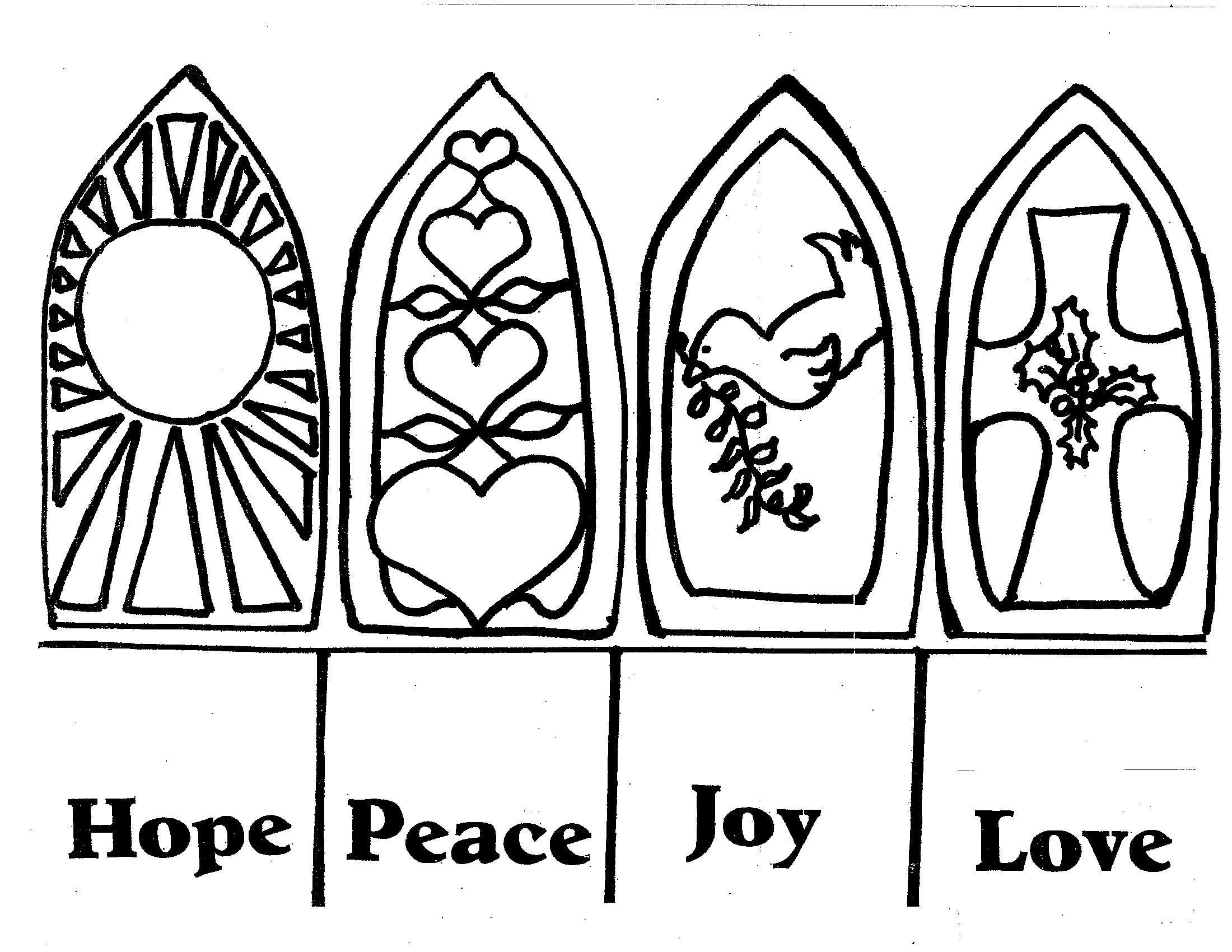 advent coloring pages hope peace joy love 01