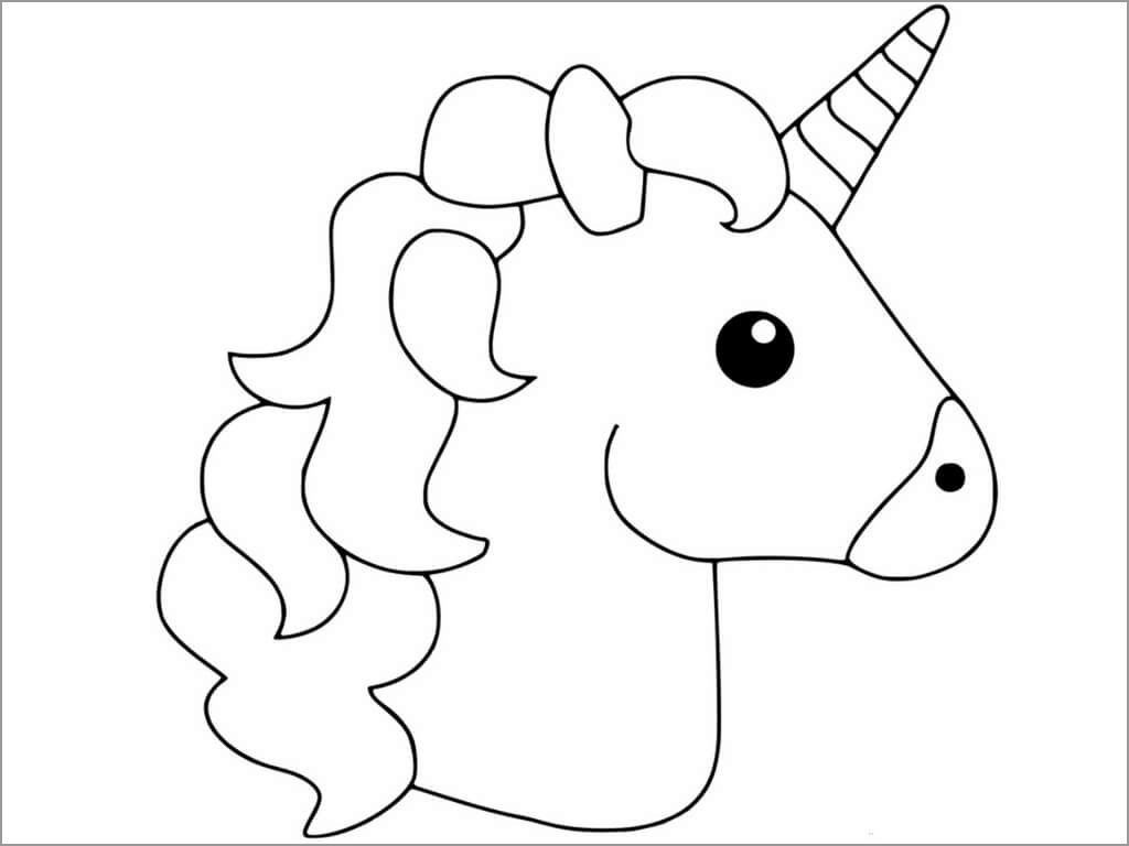 Unicorn Head Coloring Page Only