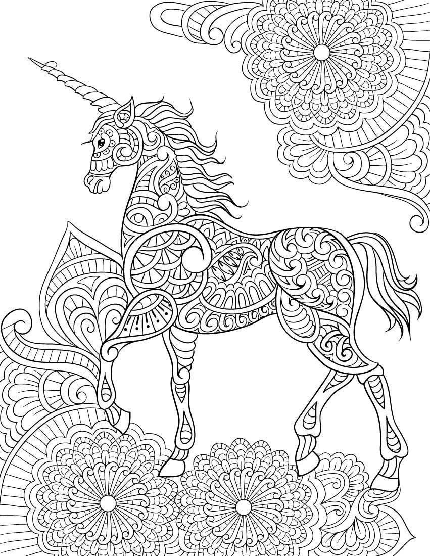 unicorn mandala coloring pages