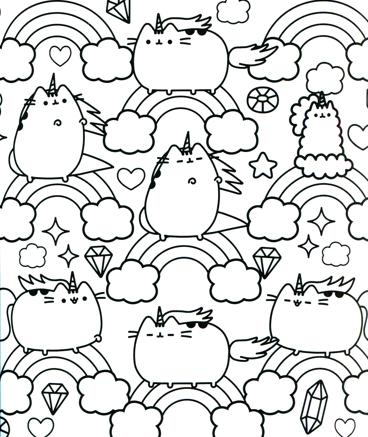 unicorn pusheen coloring pages