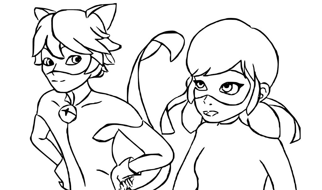 Ladybug And Cat Noir Are Talking coloring page e1549302250319