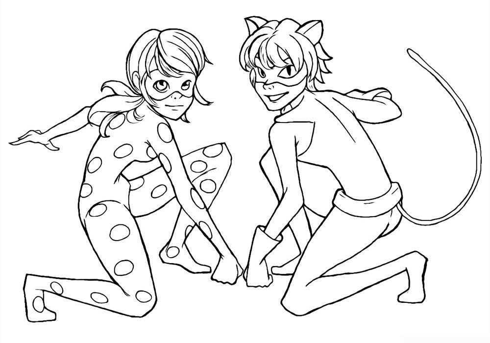 Ladybug And Cat Noir Coloring Pages to download and print for free e1549302229298