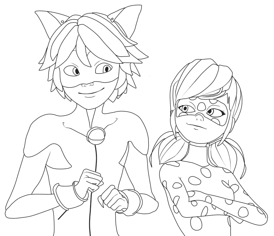 Print Miraculous Ladybug and Cat Noir Very Happy coloring pages e1549302190214
