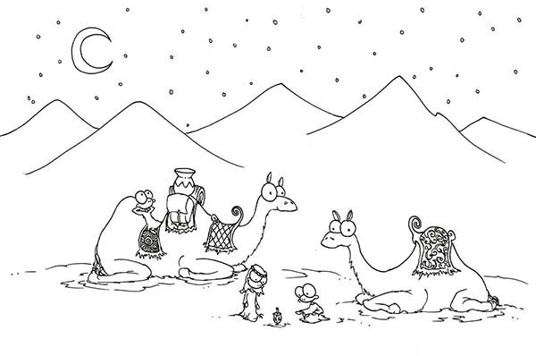 Sahara Desert 2 Camel Coloring Pages
