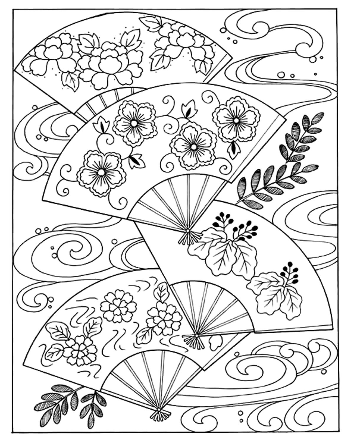 kawaii coloring pages, japanese girl coloring pages, japanese fan coloring pages, japanese dragon coloring pages, japanese cherry blossom coloring pages, anime coloring pages