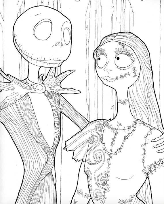 Jack and Sally Halloween Coloring Page,