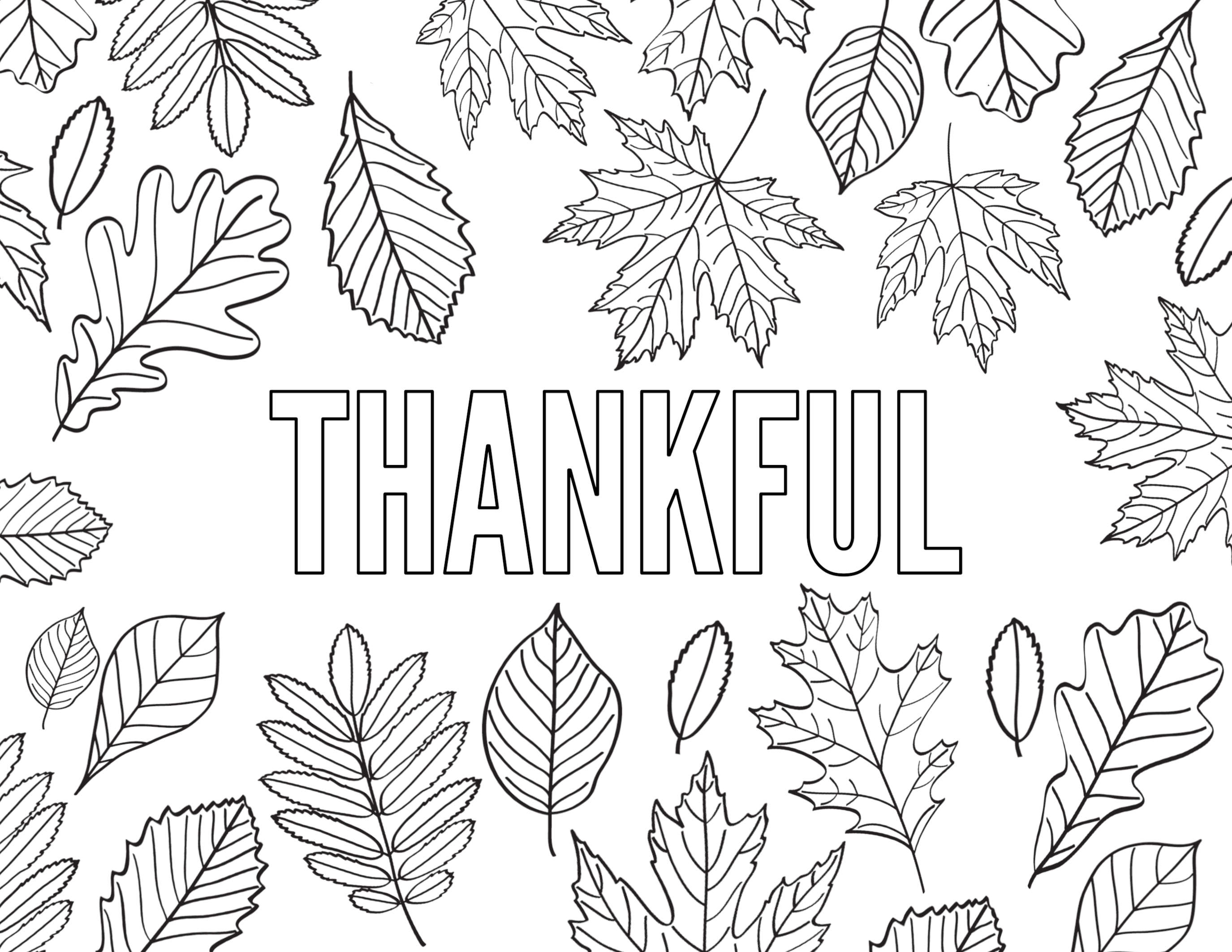 Thankful Word Coloring Pages
