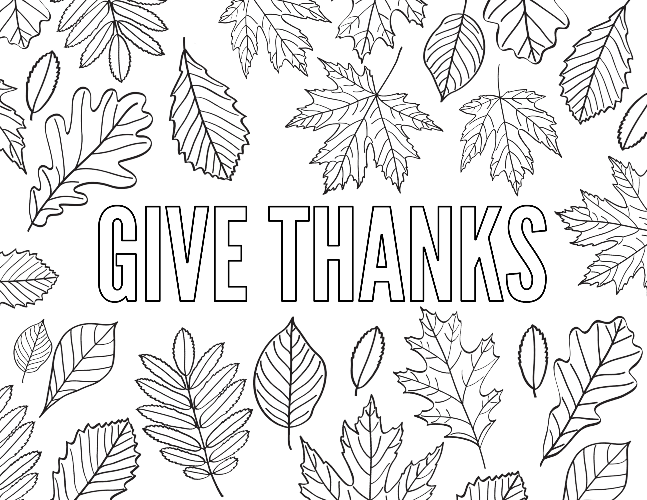 give thanks word coloring pages