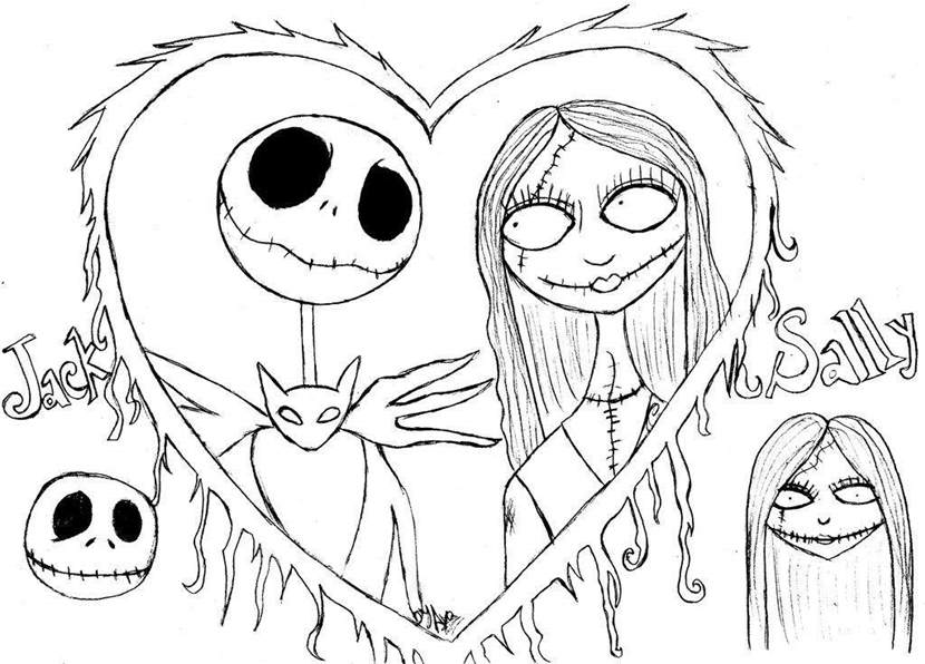jack and sally coloring page