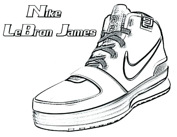nba lebron james shoe coloring page