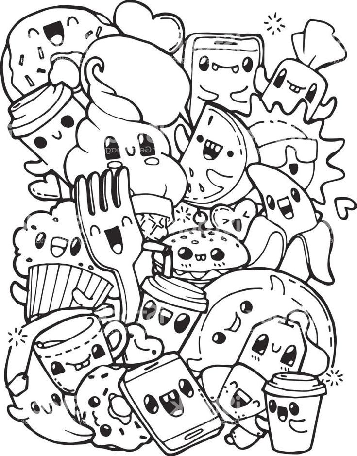 Awesome Kawaii Food Coloring Pages