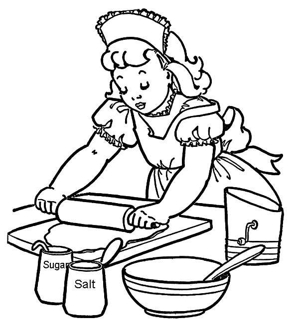 How to Baking Cookies Coloring Pages