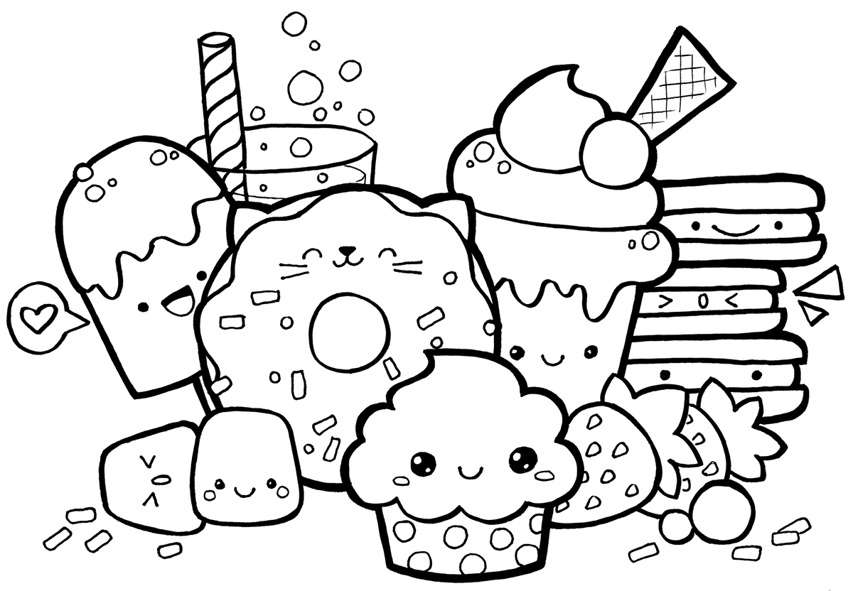Kawaii Food Doodle Coloring Pages